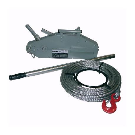 Treuil cable passant charge 800kg-course du cable par deplac