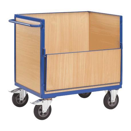 Chariot container bois 1 côté rabattable