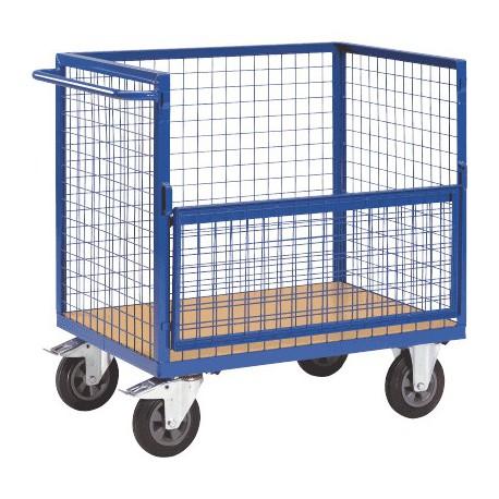 Chariot container grillagé 1 côté rabattable
